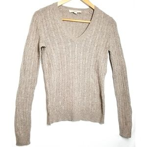 LOFT XS v-neck cable knit sweater